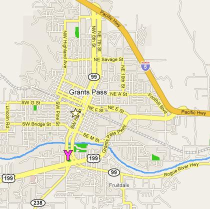 Map of Grants Pass, Oregon & the Old Town Antique Mall